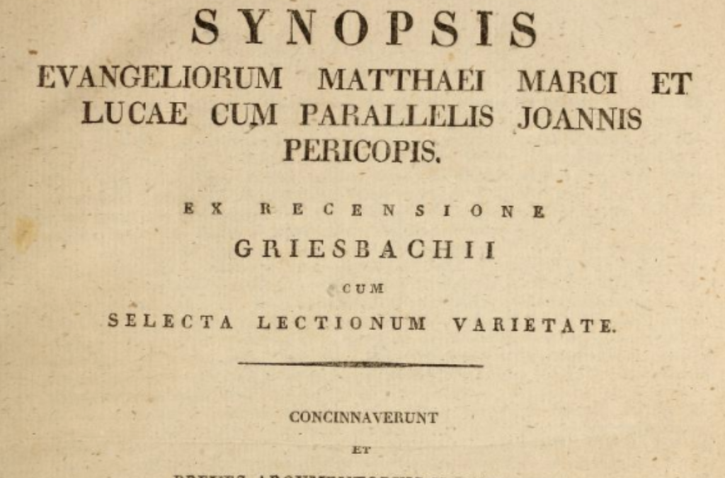Title page from Griesbach's Gospel Harmony