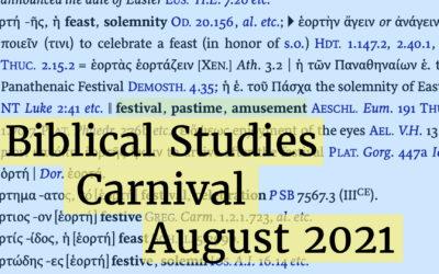 Biblical Studies Carnival 186 for August 2021